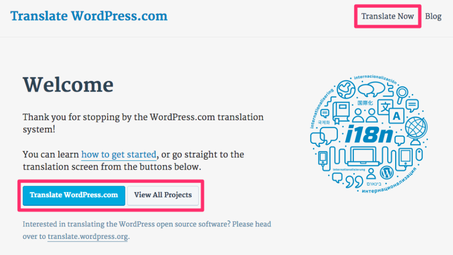 translate.wordpress.com front page: links to start translation