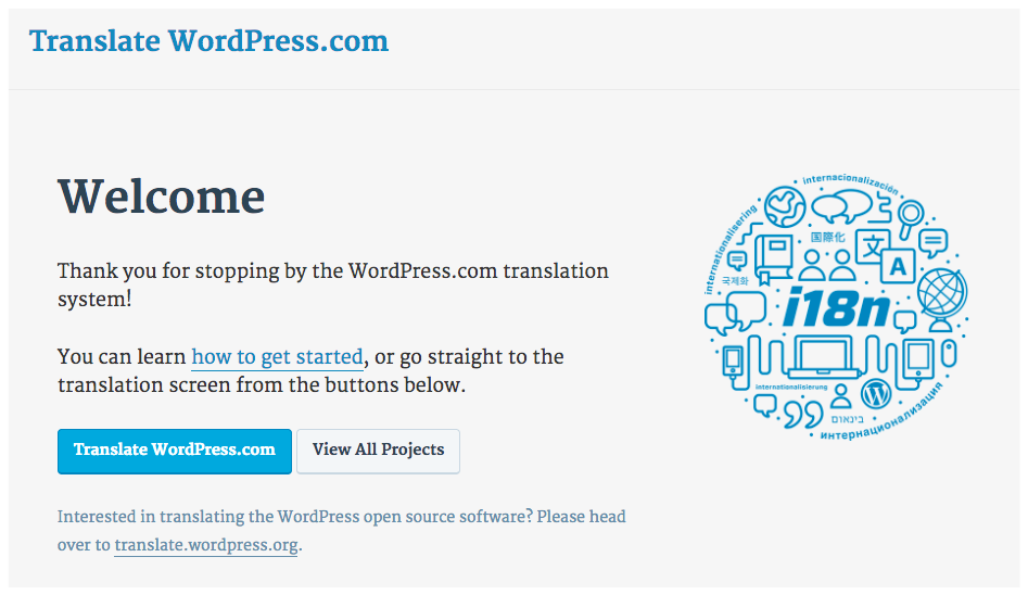 Screenshot of translate.wordpress.com homepage